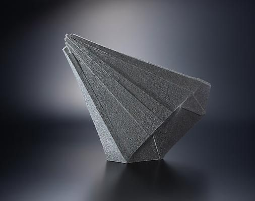 Diagonal standing upswept faceted sculpture, 2012 Shigaraki stoneware with color...