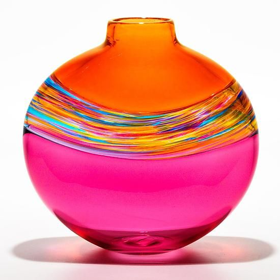Transparent Flat Banded Vortex Vase in Salmon, Florida, and Cranberry by Michael Trimpol and Monique LaJeunesse (Art Glass Vase) | Artful Home