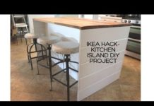 Ikea DIY Kitchen Island with Thrifted Counter Top! - Free Range Cottage