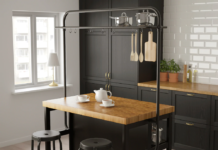 IKEA - VADHOLMA Kitchen island with rack, black/oak